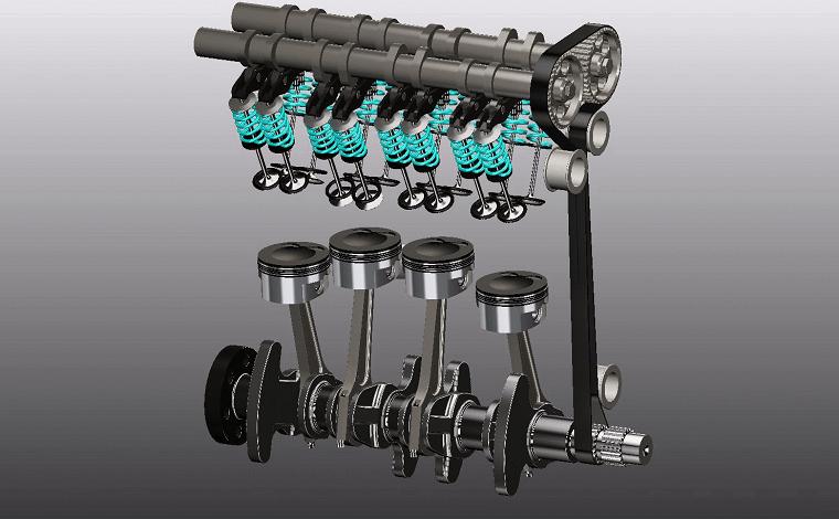 Proe四缸发动机模型下载